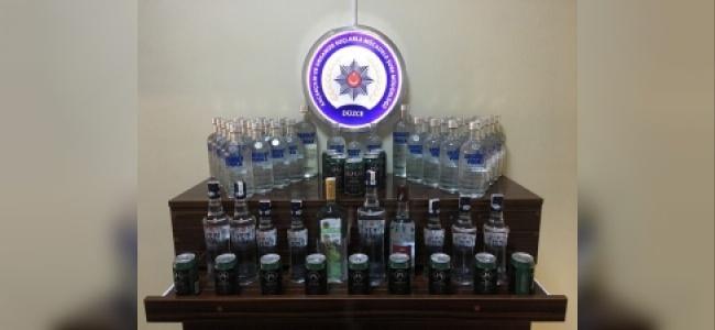 Düzce'de Kaçak İçki Satıcılarına Baskın