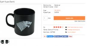 Game Of Thrones Siyah Stark Kupa Çeşitleri